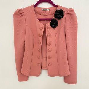 Jackets & Blazers - New pink button bow blazer jacket size M